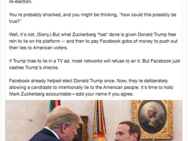 Elizabeth Warren Trolls Facebook