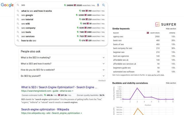 Keyword surfer data as seen on the SERP